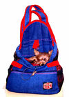 Front Pouch Denim Dog Pet Carrier Yorkie Chihuahua RED Straps LARGE