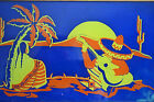 Vintage MEXICAN Glass  Wood Serving TRAY Bold Bright Sunset Desert Scene 135