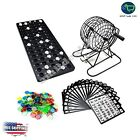 Bingo Game Set Complete Kit Cage Balls Cards Markers Board Family Fun Night