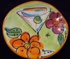 Julia Junkin Plate Martini and Flowers Coaster Trinket Dish Appetizer Plate
