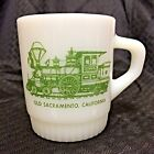 Fire King White Coffee Stacking Mug Cup Green Train Ribbed Bottom Anchor Hocking