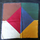 Large Vintage Ashear Six-Color All Silk Pocket Square Handkerchief Solid Italy