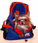Size SMALL Denim Front Pouch Yorkie Chihuahua Pet Carrier RED Straps