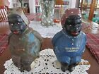 2 VINTAGE BLACK AMERICANA DILLY BRAND LAXATIVE CAST IRON COIN BANKS