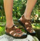 Mens Outdoor Leather Sandals Closed Toe Sport Beach Hiking Walking Shoes Sneaker