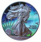 1 oz 999 Silver American Eagle Coin Ruthenium plated Colorized Northern Lights