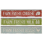 SET OF 3 MINI Rustic FARM FRESH Country Cottage Sign - EGGS,MILK,CHEESE