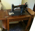 Antique Edwardian White Sewing Machine in Orignal Wood Cabinet - Good Condition