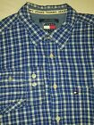 VTG 90s Tommy Hilfiger Jeans Long Sleeve Plaid Button Down Twill Shirt Mens XL