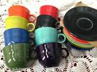 16 pc Lot~Fiesta Ware Coffee~Tea Cups Saucers Sets~Assorted Colors~New! 2016