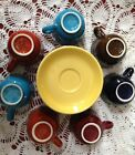 15 pc Lot~Fiesta Ware Coffee Cups & Saucers~Assorted Colors~Unused~Cinnabar+