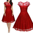 Womens Vintage Lace Overlay Elegant Formal Evening Wedding Party Prom Dress