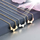 Beauty Charm Women Stainless Steel Three Heart Pendant Chain Necklace