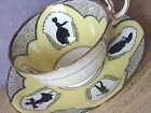 Antique 1920s Aynsley black  yellow silhouette bone china tea cup teacup