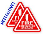 Pair REFLECTIVE 3 inch Fire Extinguisher on Board Vinyl Decals Stickers 4x4 Jeep