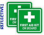 2 REFLECTIVE 3 inch First Aid Kit on Board Vinyl Decals  Stickers 4x4 Jeep