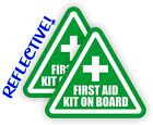2x REFLECTIVE 3 inch First Aid Kit on Board Vinyl Decals Stickers 4x4 Jeep