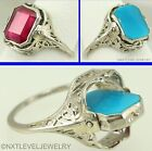 Antique Art Deco Ruby & Persian Turquoise 14k Gold Filigree Cocktail Flip Ring
