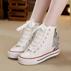 New Womens Wedge Heels High Top Lace Up Canvas Platform Sneakers Trainer Shoes