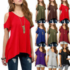 US Womens Summer Cold Shoulder Loose Top Short Sleeve Blouse Casual Tops T Shirt