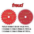FREUD PRO TCT CIRCULAR SAW BLADES TWIN PACK 165MM X 20MM BORE 24/40 TEETH