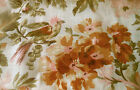 Antique 19thc French Bird Floral Cotton Fabric ~ Melon Pink Olive Brown