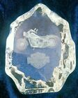 3D Laser Etched Crystal Harley Davidson Motor Cycle Paperweight EUC