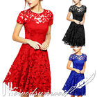 Women Short Formal Lace Dress Short Sleeve Party Casual Evening Bridesmaid Dress