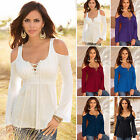 Women Cold Shoulder Top Blouse Plus Size Long Sleeve Casual Pleated T shirt Tee