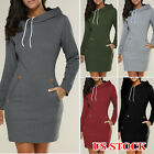 US Women Casual Hooded Hoodie Long Sleeve Sweater Pocket Bodycon Tunic Dress Top