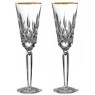 Pair of Waterford Crystal Lismore Tall Gold Champagne Flute Glasses *New in Box*