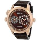 Sector Men's 48mm Brown Leather Stainless Steel Case Quartz Watch 3251102022