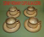 8 LOT DENBY LANGLEY ROMANY BROWN 4 CUPS & 4 SAUCERS STONEWARE ENGLAND
