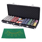 Poker Chip Set 500 Dice Chips Texas Holdem Cards with Black Aluminum Case New