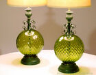 MID CENTURY SPANISH REVIVAL TABLE LAMPS GREEN OPTIC GLASS GLOBES