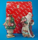 FITZ AND FLOYD CHRISTMAS WREATH TOPIARY AND SANTA SALT AND PEPPER SHAKERS IN BOX