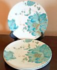 Beautiful 222 Fifth Eliza Porcelain Teal Salad Plates x3 Floral