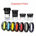 125 Plossl Telescope Eyepiece Set 4 10 25mm+2X Barlow Lens+Color Filter Kit US