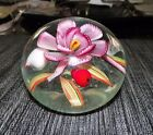 VENEZIA MURANO FLORAL ART GLASS PAPERWEIGHT ITALY 3 TALL