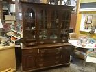 Ethan Allen Hutch Cupboard China Cabinet 2 piece solid dovetail drawers