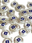 10 Pc NA Blue Enamel  Crystal Pendant Charms Silver Tone Narcotics Anonymous