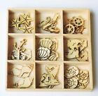 45 pc NAUTICAL Mini Laser Cut Wood Shapes 9 Styles Sea Life Shell Anchor 2015 05