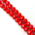 New 20 50pcs Red Rondelle Faceted Crystal Glass Loose Spacer Beads DIY 8 10mm