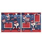 Printed Premade Scrapbooking 2 Page Layouts USA uncle sam american flag