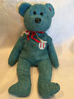 Collectible 2001 TY Beanie Baby Addison Baseball Patch Blue Teddy Bear **