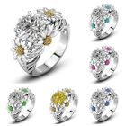 Two Tone Round Cut White Sapphire Daisy Promise Ring 925 Silver Women Jewelry