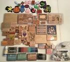 HUGE LOT Of Over 90 Wood Mounted Stamps + Ink Pads Card Making Scrapbooking