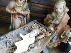 Vintage West Germany Nativity Creche Set 5 Scale Paper Mache Wooden Stable