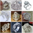 Fashion 925 Sterling Silver White Topaz Wedding Ring Women Mens Jewelry Sz 6 10