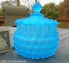 HOBBS BROCKUNIER FROSTED SAPPHIRE BLUE 323 DEW DROP HOBNAIL COVERED SUGAR BOWL